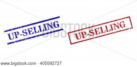 Grunge Up-selling Rubber Stamps In Red And Blue Colors. Stamps Have Rubber Texture. Vector Rubber Im