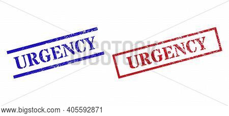 Grunge Urgency Rubber Stamps In Red And Blue Colors. Stamps Have Rubber Style. Vector Rubber Imitati