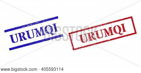 Grunge Urumqi Rubber Stamps In Red And Blue Colors. Seals Have Rubber Style. Vector Rubber Imitation