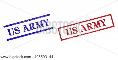 Grunge Us Army Rubber Stamps In Red And Blue Colors. Seals Have Distress Style. Vector Rubber Imitat