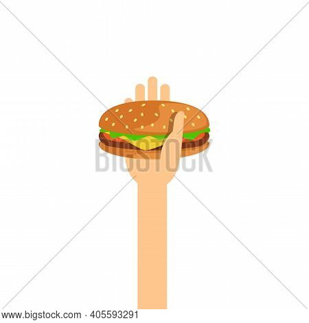 Hamburger, Hamburger In Hand For Giving And Donate Concept, Hand Are Holding Burger For Clip Art