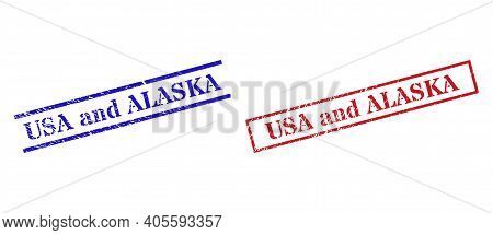 Grunge Usa And Alaska Rubber Stamps In Red And Blue Colors. Stamps Have Draft Style. Vector Rubber I