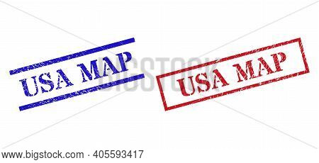 Grunge Usa Map Rubber Stamps In Red And Blue Colors. Stamps Have Rubber Style. Vector Rubber Imitati