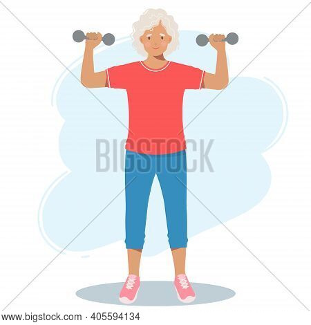 Elderly Woman In Sports Clothes Trains With Dumbbells. A Retired Grandmother, A Pension And A Health