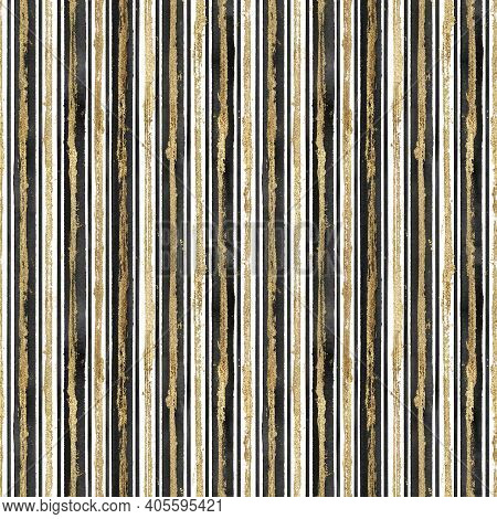 Abstract Grunge Seamless Pattern With Golden Glittering Acrylic Paint Stripes On Black And White Str