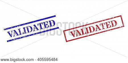 Grunge Validated Stamp Seals In Red And Blue Colors. Seals Have Rubber Style. Vector Rubber Imitatio
