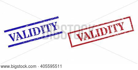 Grunge Validity Rubber Stamps In Red And Blue Colors. Seals Have Rubber Style. Vector Rubber Imitati