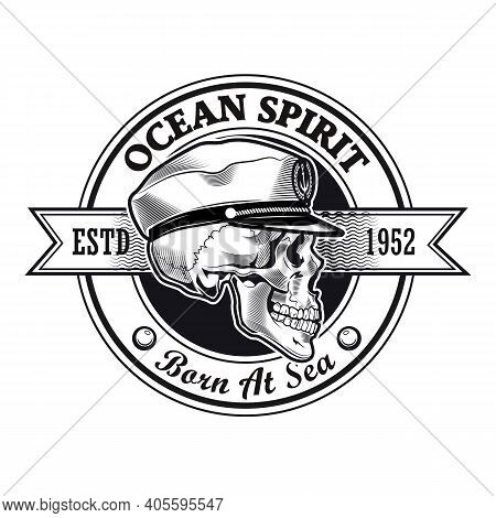 Captain Stamp Design. Monochrome Element With Skull In Ship Captain Cap Vector Illustration With Tex