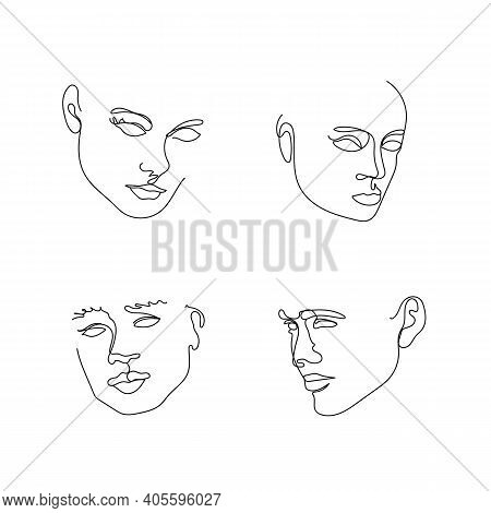 Elegant Faces Collections. One Line Drawing Faces. Fashion Concept, Male And Female Beauty Minimalis