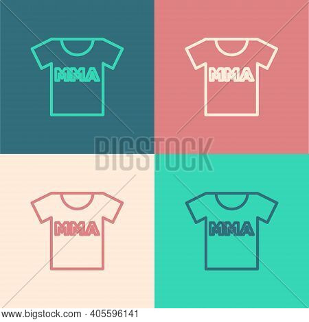 Pop Art Line T-shirt With Fight Club Mma Icon Isolated On Color Background. Mixed Martial Arts. Vect