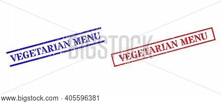 Grunge Vegetarian Menu Rubber Stamps In Red And Blue Colors. Stamps Have Rubber Surface. Vector Rubb