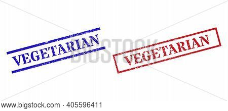 Grunge Vegetarian Stamp Seals In Red And Blue Colors. Seals Have Draft Style. Vector Rubber Imitatio