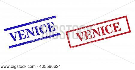 Grunge Venice Rubber Stamps In Red And Blue Colors. Stamps Have Rubber Surface. Vector Rubber Imitat