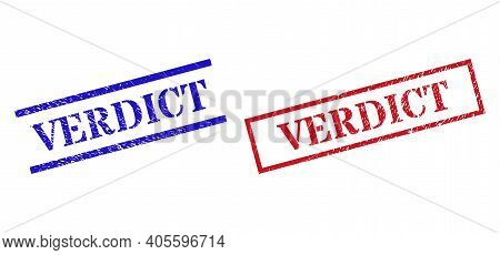 Grunge Verdict Rubber Stamps In Red And Blue Colors. Stamps Have Rubber Style. Vector Rubber Imitati