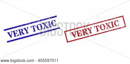 Grunge Very Toxic Rubber Stamps In Red And Blue Colors. Stamps Have Rubber Style. Vector Rubber Imit