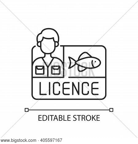 Fishing Licence Linear Icon. Permission To Catch Fish. Ecological Legislation. Fishing Contest. Thin