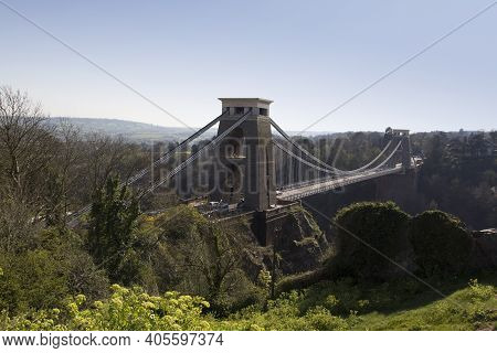 Bristol, Uk - April 8, 2019. Clifton Suspension Bridge Spanning The Avon Gorge Opened 1864. Bristol,