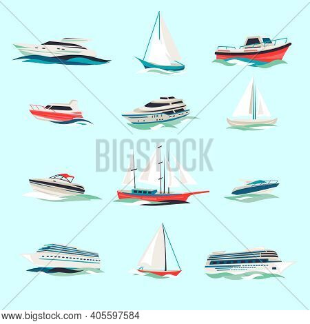Marine Boats Cruise Sea Travel Yacht Motor Vessels Flat Icons Set With Jet Cutter Abstract Isolated