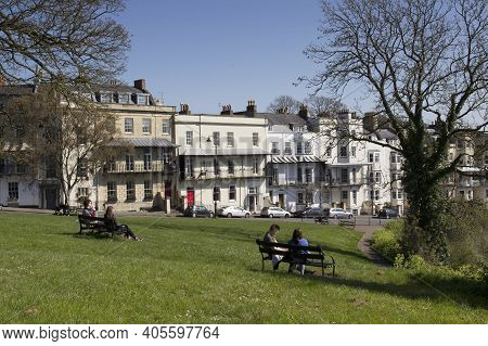 Bristol, Uk - April 8, 2019. Bristol Street Scene With Georgian Housing. Bristol, England, Uk, April
