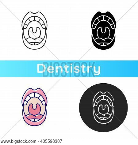 Oral Cavity Icon. Mouth Examining Dental Inspection. Anatomy Of Oral Cavity. Cosmetic Dentistry. Den