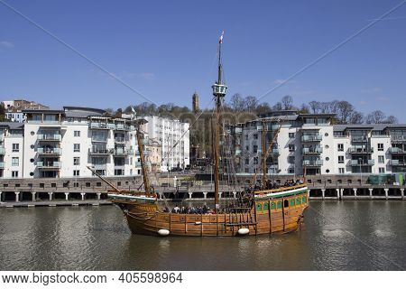 Bristol, Uk - April 8, 2019. The Matthew Wooden Ship Is A Replica Of A Caravel Sailed By John Cabot