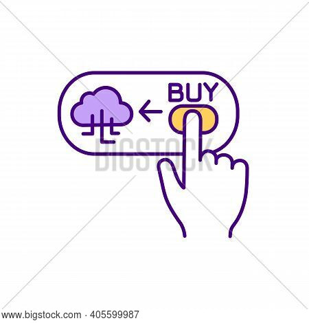 Cloud Database Buying Rgb Color Icon. Cost-effective Offer. Cloud-based Storage Solution Pricing. Al