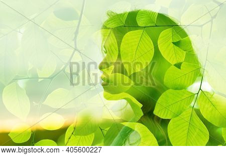 Nature Tree Geen Leaves Combines With The Beauty Of Young Attractive Woman. Mental Health Concept.