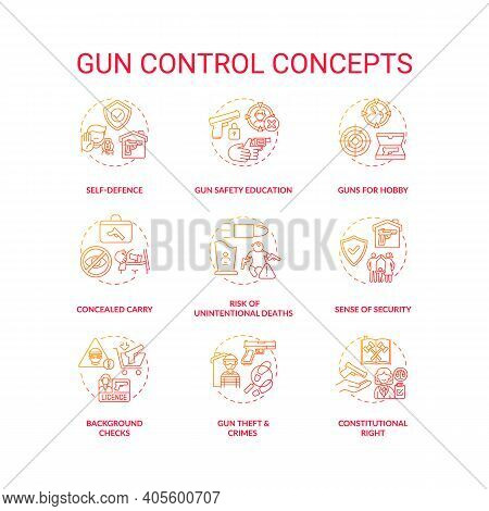 Gun Control Red Gradient Concept Icons Set. Self Defense. Safety Education. Concealed Carry. Firearm