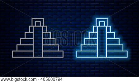Glowing Neon Line Chichen Itza In Mayan Icon Isolated On Brick Wall Background. Ancient Mayan Pyrami