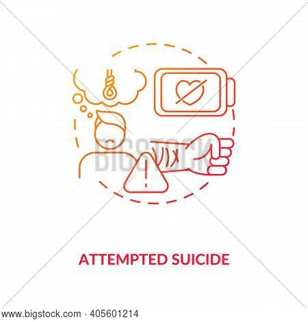 Attempted Suicide Red Gradient Concept Icon. Psychological Trauma, Suffering. Self Inflicted Harm. M