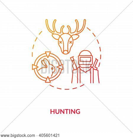 Hunting Red Gradient Concept Icon. Killing Animals For Hobby. Seasonal Hunt For Reindeer, Rabbit. Gu