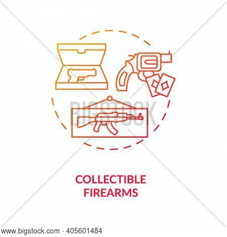 Collectible Firearms Red Gradient Concept Icon. Vintage Colt. Old Fashioned Pistol. Collection Of An