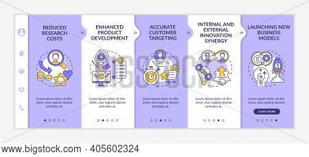 Open Innovation Advantages Onboarding Vector Template. Enhanced Product Development. Innovation Syne