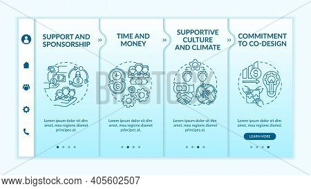 Conditions For Collaborative Design Onboarding Vector Template. Supportive Culture, Climate. Commitm