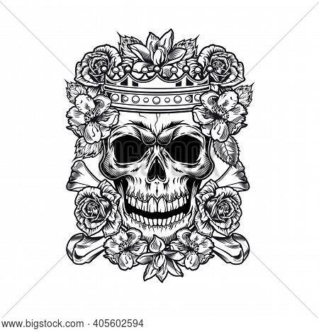 Vintage King Or Queen Skull In Roses Vector Illustration. Monochrome Regal Skull In Flowers Wearing