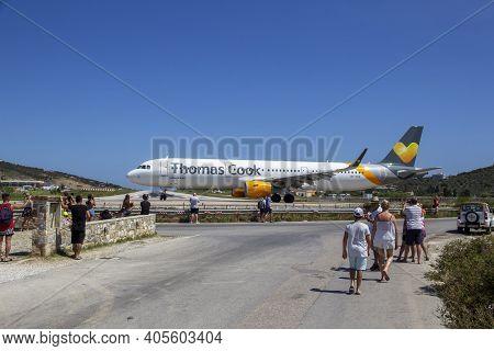 Skiathos, Greece - August 13, 2019. Aeroplane At Skiathos Airport, Skiathos Town, Greece, August 13,