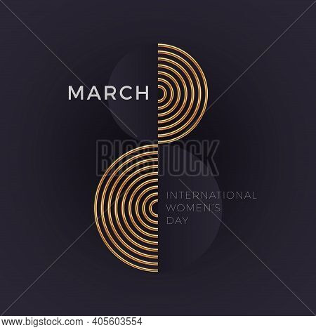8 March - International Women's Day Greeting Card. Abstract Golden Number Eight On Dark Background.