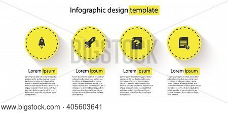 Set Rocket Ship With Fire, , Unknown Document And . Business Infographic Template. Vector