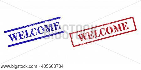 Grunge Welcome Rubber Stamps In Red And Blue Colors. Stamps Have Rubber Texture. Vector Rubber Imita