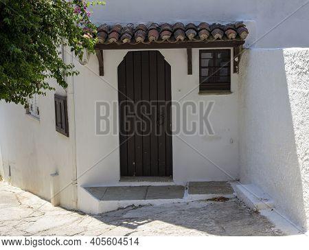 Skiathos, Greece - August 13, 2019. Traditional House, Skiathos Town, Greece, August 13, 2019.