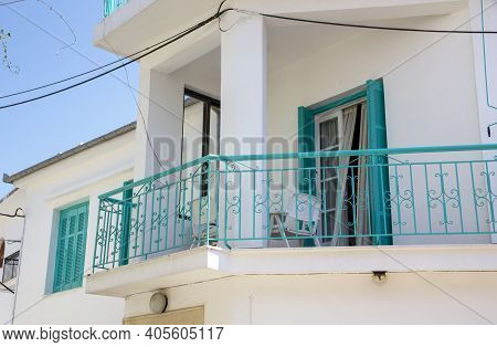Skiathos, Greece - August 13, 2019. Looking Up At Traditional Houses, Skiathos Town, Greece, August