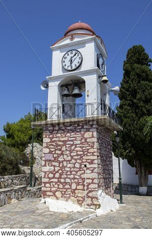 Bell Tower With Clock On Top Of Hill, Skiathos Town, Greece