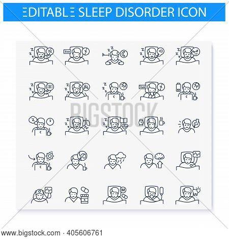 Sleep Disorder Line Icons Set. Apnea And Insomnia. Healthy Sleeping Concept. Sleep Problems Treatmen