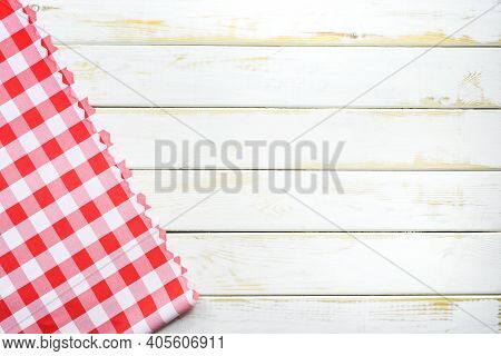 Rustic Italian Cooking Template - Top View Of Vintage Wooden Table With A Red Checked Tablecloth Wit