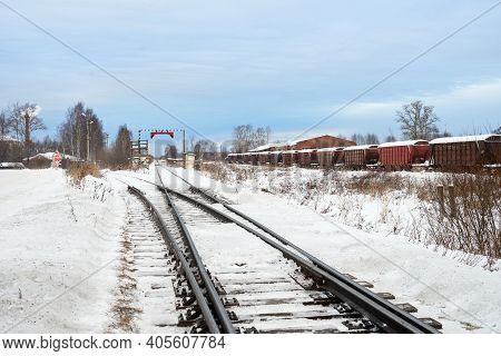 Railroad Tracks In Winter Time. Railway Infrastructure. Steel Railway For Trains In Snow. Railway Tr