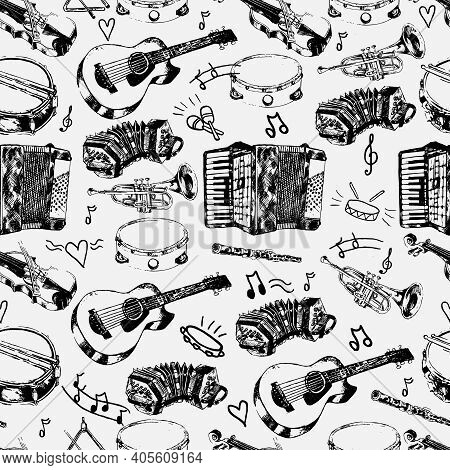 Decorative Musical Store Wrapping Paper Seamless Pattern With Classical Strings Percussion Jazz Inst