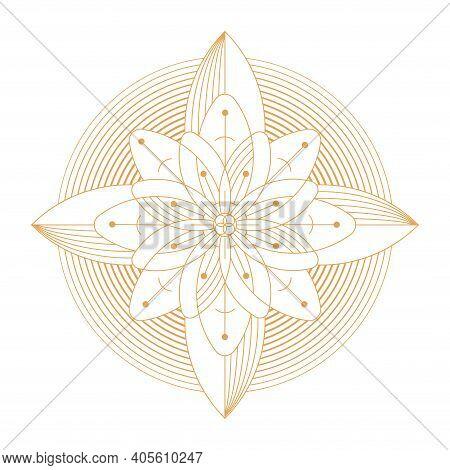 Geometric Minimalistic Artwork Poster With Shape Lotus Symbol.