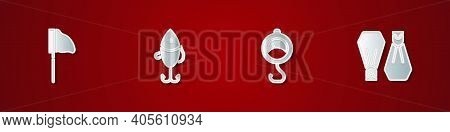 Set Fishing Net With Fish, Lure, Spring Scale And Rubber Flippers For Swimming Icon. Vector