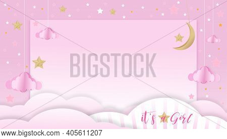 Vector Illustration For Baby Girl Shower Card On Pink Background,paper Art Abstract Origami Cloudsca