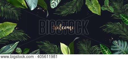 Tropical Banner Arranged From Exotic Emerald Leaves And Golden Glitter. Paradise Plants, Greenery An